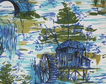 vintage 1950s watermill landscape print cotton interiors fabric length
