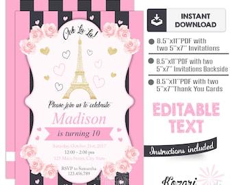 Paris party invitation paris turquoise birthday party etsy editable paris invitation paris birthday invitation instant download invitation editable invitation filmwisefo