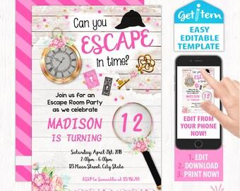Escape Invitations Etsy
