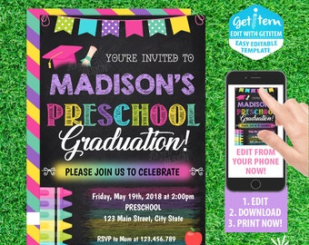 Preschool graduation invitation etsy preschool graduation invitation graduation invitation invitation id pgi231 filmwisefo