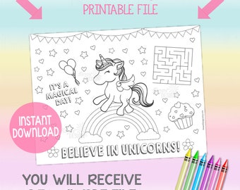 Unicorn Coloring Sheet Party Game Activity Printable PDF