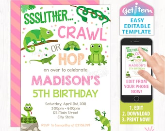 Reptile invitation etsy reptile party invitation reptile birthday invitation reptiles editable invitation edit with your phone id rbi201 filmwisefo