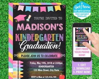 kindergarten graduation invitation etsy