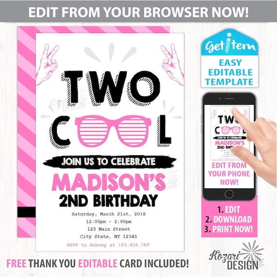 Two cool birthday invitation two cool birthday party etsy image 0 filmwisefo