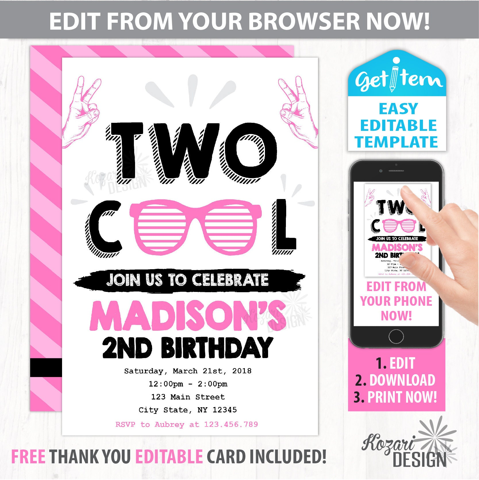 Two Cool Birthday Invitation Two Cool Birthday Party   Etsy