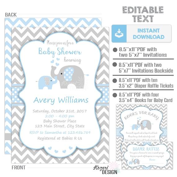 Editable Elephant Baby Shower Invitation Boy Baby Shower Etsy