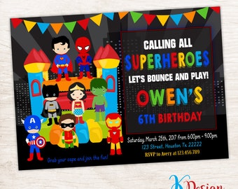 Superheroes Bounce House Invtation, Bounce House Invitation, Superhero Birthday Invitation, Jump Invitation