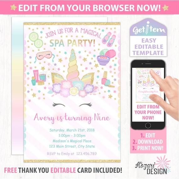 Unicorn Spa Birthday Invitation Spa Birthday Invitation Etsy