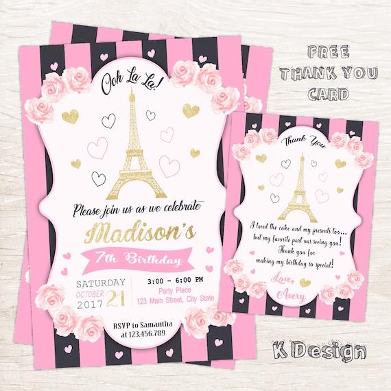 Paris Invitation Birthday Printable
