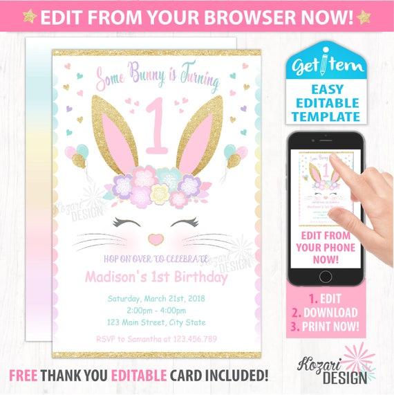 Editable Bunny Birthday Invitation Id BBI 120