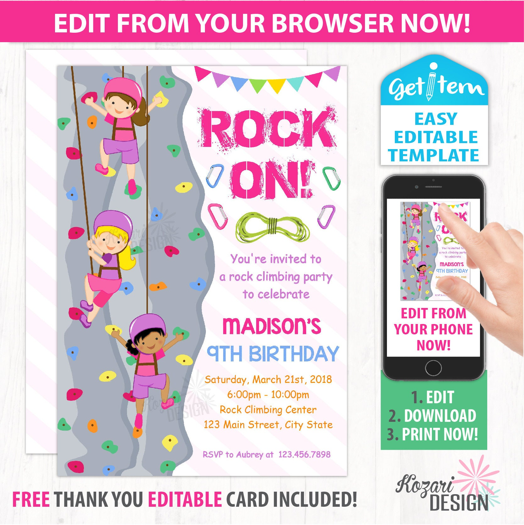 Girl Rock Climbing Invitation Climbing Birthday Party | Etsy