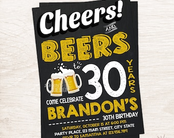 Cheers and Beers to 30 Years Birthday Invitation, Any Age Invitation, Printable Invitation