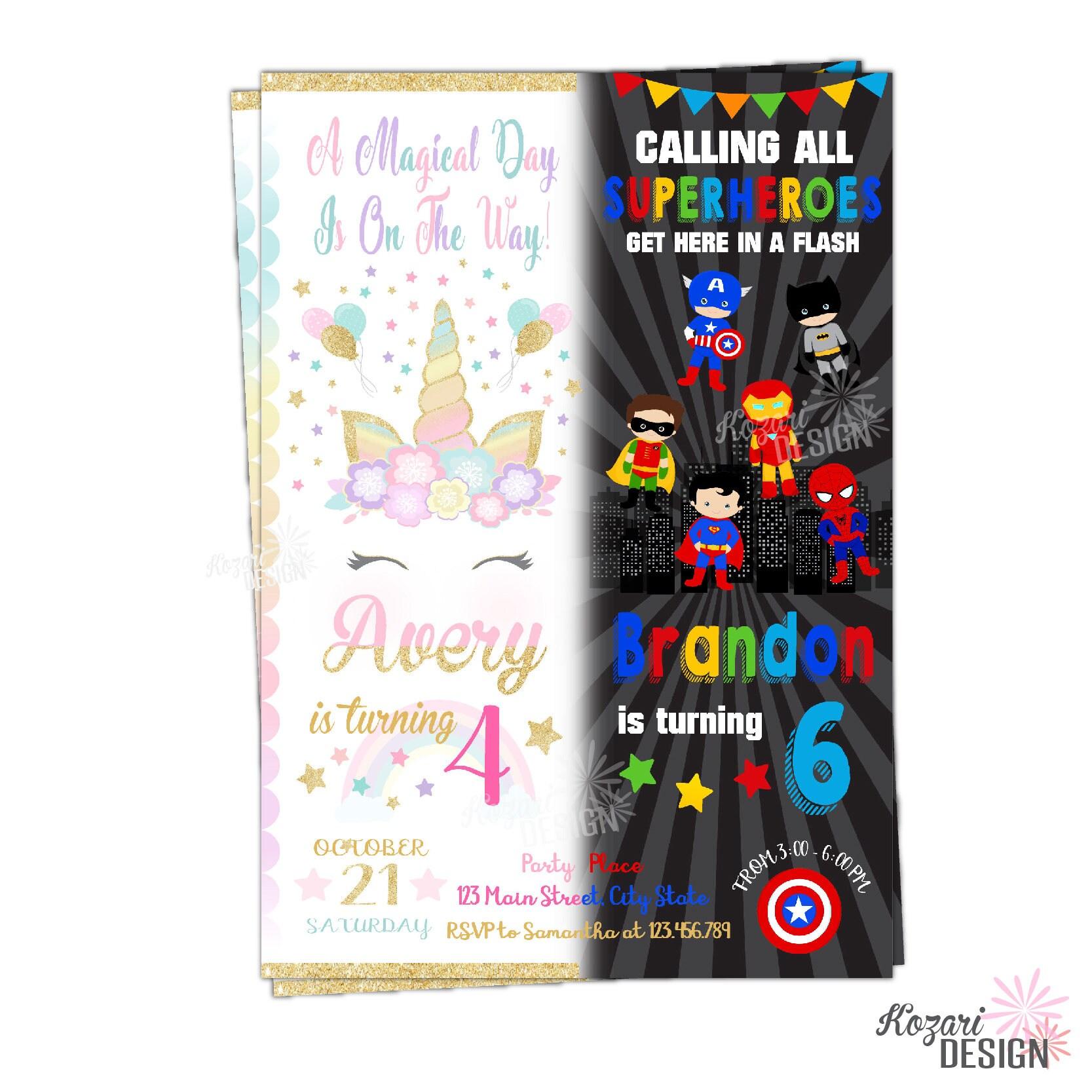 Unicorn and Superhero Invitation Twins Birthday Invitation | Etsy