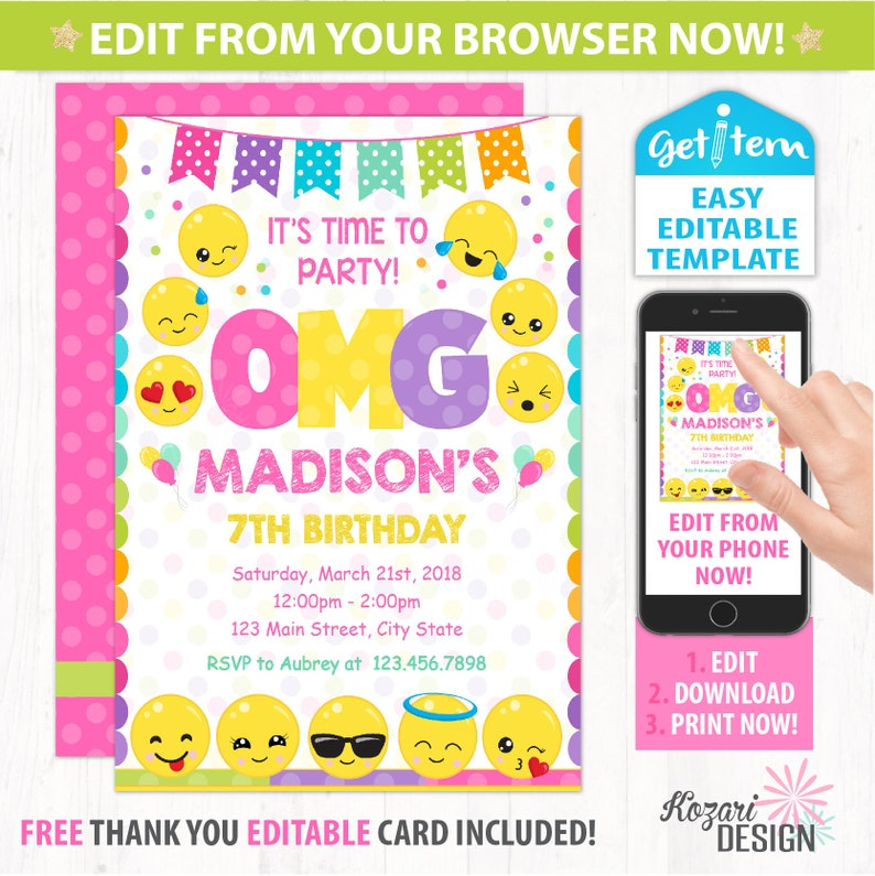 Editable Emoji Birthday Invitation