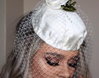 Ivory satin Bridal pillbox  fascinator with birdcage veil