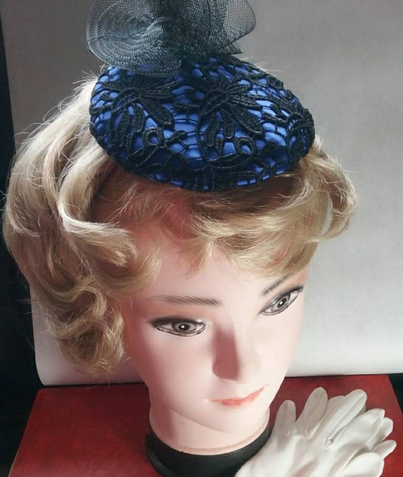 Small royal blue satin button percher style fascinator hat  5376d4ad2b7