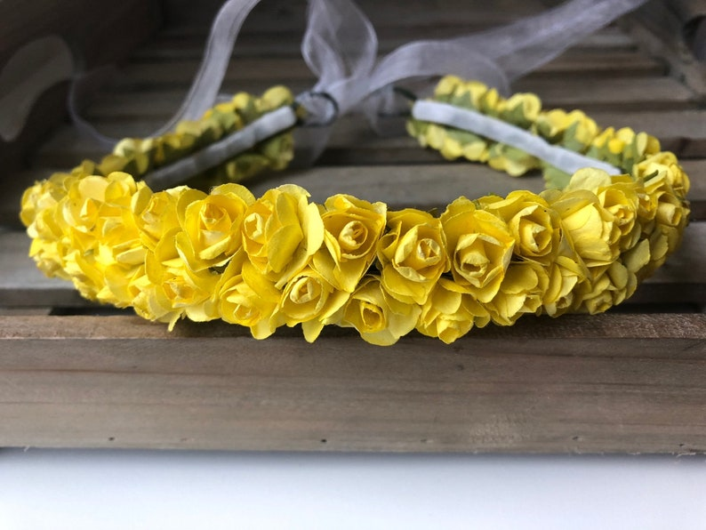 2 rows made of mini paper roses  flower wreath  mini roses  wreath  paper flowers  hair  hair accessories  rose blue or yellow hair wreath