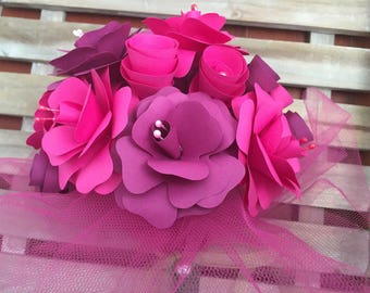 Paper bouquet in eggplant and fuchsia