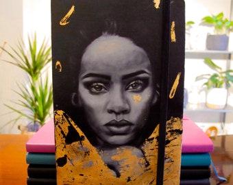 Hand painted Rihanna moleskine notebook