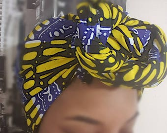 Yellow and Bluesss head wrap