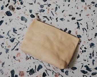 Natural Veg Tan Leather Cosmetic Bag