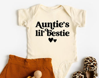 Auntie's Lil' Bestie, Baby Bodysuit, Baby Girl Clothes, Baby Girl Gift, Gift From Aunt, Aunt or Auntie Shirt, Baby Announcement To Aunt
