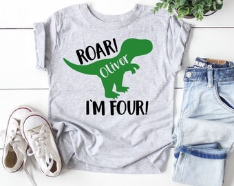 Funny Dinosaur Birthday Shirt for Kids 4th Birthday Party Shirt B-Day Outfit