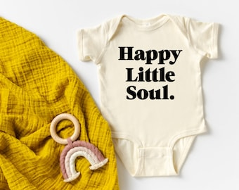 Natural Baby Gift Boho Baby Baby Shower Gift Unisex Kids Clothing Newborn Clothes Organic Baby Clothes Happy Bodysuit Infant Bodysuit