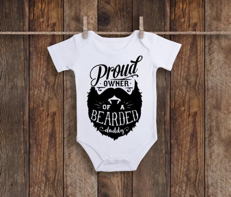 0714c43dc75 Baby Onesie Proud Owner Of A Bearded Daddy Beard Onesie | Etsy