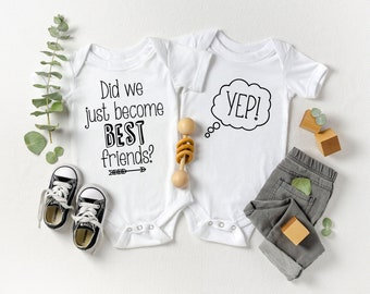 Did We Just Become Best Friends, Pregnancy Announcement, Baby Announcement, Twin Clothes, Twin Outfits, Gift For Twins, Baby Shower Gift