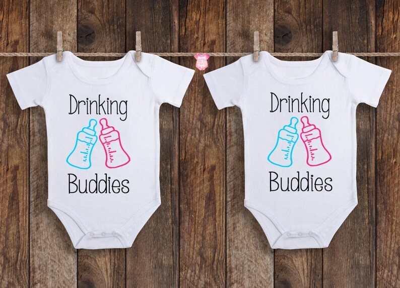 8b3465cab Twin Onesies Drinking Buddies Onesie Funny Onesies Twin | Etsy
