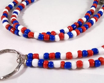 Red White and Blue Beaded ID Badge Lanyard