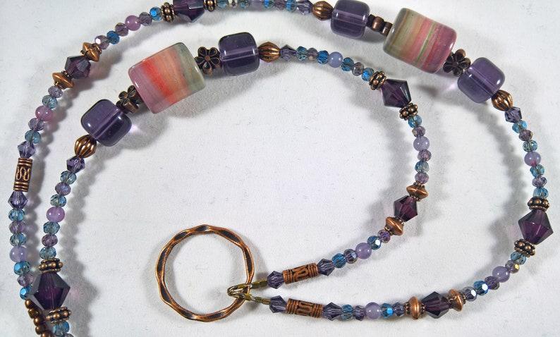 ID Lanyard with Handmade Polymer Clay Beads SOFTEST PURPLE