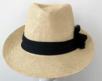 b30406a957285 Panama Hat Summer Straw Fedora Hat Summer Fedora Women s Fedora Hat Boho Straw  Hat Beige Straw Hat