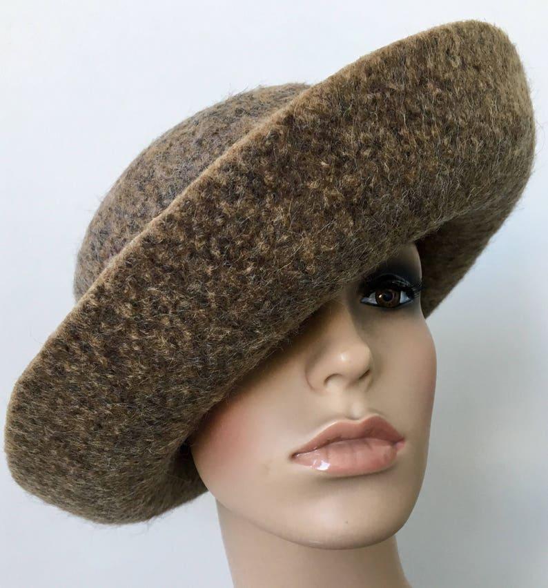899a45d3f7d Wool Cloche Hat Felted Wool Hat Wide Brim Hat Felt Hat