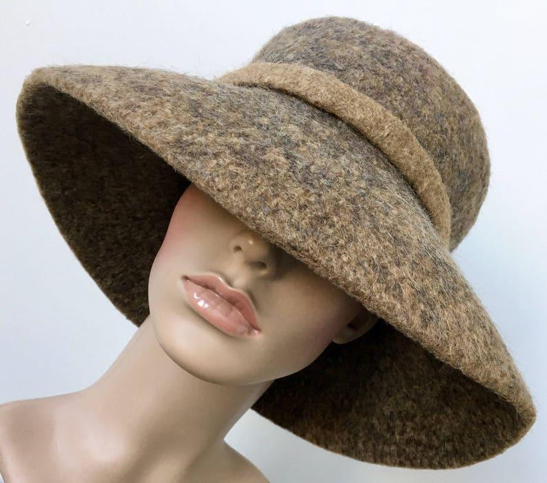 d193baf2ed9 Women Brown Felt Hat Felted Wide Brim Hat Wool Hat Handmade