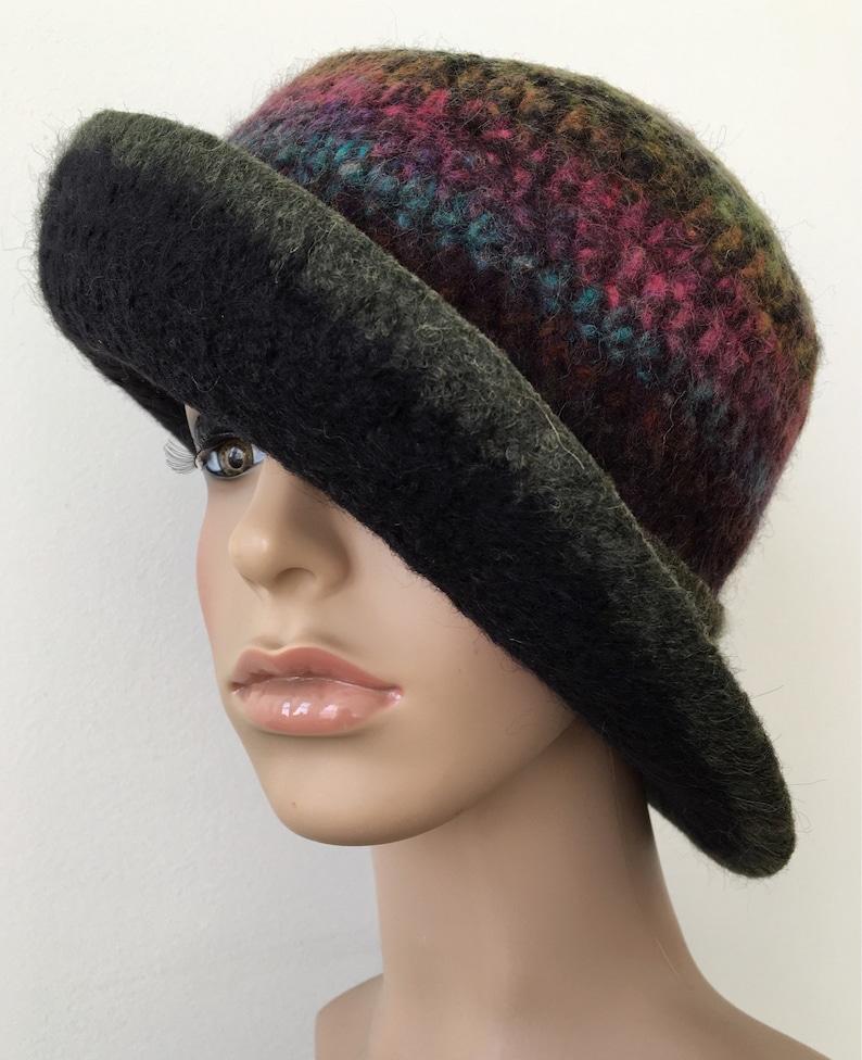 dcb22a0b341 Wool Cloche Hat Felted Wool Hat Wide Brim Felted Hat