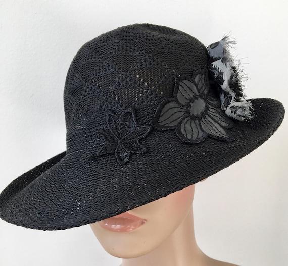 7b364c607c3 Black Summer Straw Hat Wide Brim Straw Hat Summer Sun Hat Gift