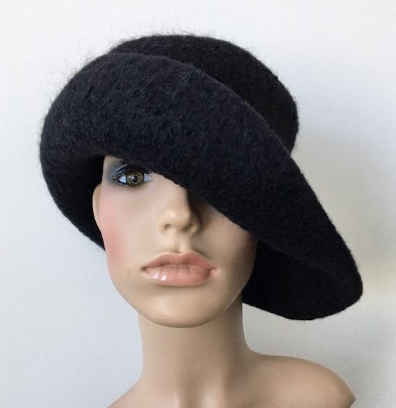 Black Felt Hat Handmade Felted Hat Stylish Winter Hat Felted  d1d967ea8467