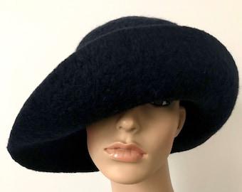 Black Cloche Hat, Felted Hat for Women, Wide Brim Hat, Warm Winter Hat, Wool Cloche, Floppy Wool Hat