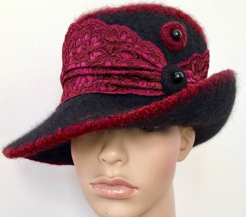 7a0f32a26 Black Felted Hat 1920s Hat Black Cloche Hat Art Deco Hat Stylish Winter Hat  Wide Brim Cloche
