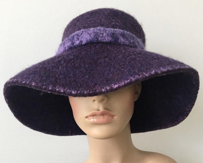 0306787bbd9267 Purple Felted Hat Wide Brim Hat Felted Floppy Hat Bohemian Hat | Etsy
