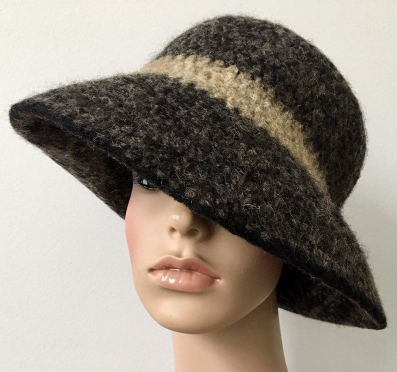 4a16ae125e9 Wool Cloche Hat Felted Wool Hat Felted Wide Brim Hat Handmade