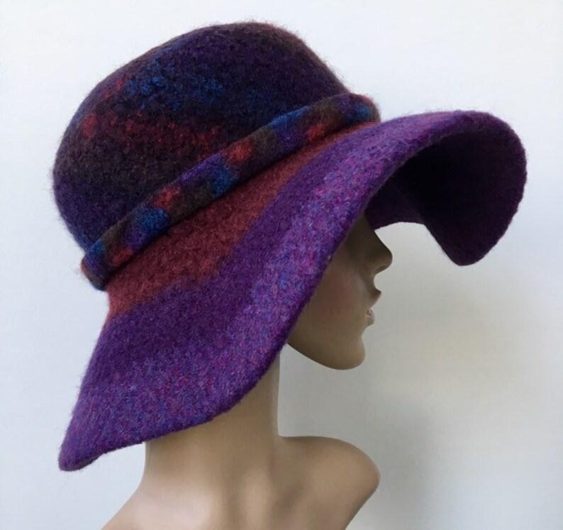 2fb400b62eb086 Purple Felted Hat Wool Floppy Hat Felted Wide Brim Cloche | Etsy