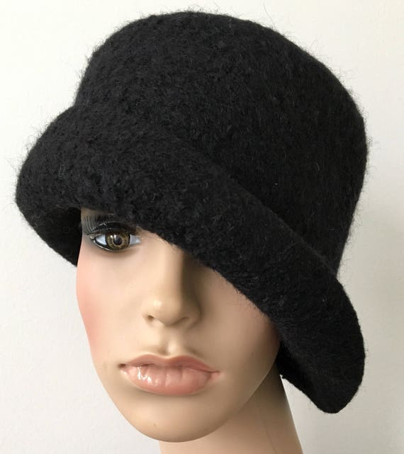 9f37c9105 Wool Hat Felt Hat Felt Rolled Brim Hat Handmade Felted Hat Women's Stylish  Hat Felted Wool Hat Black Cloche Hat Black Felted Cloche