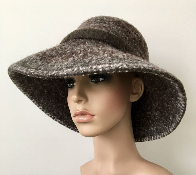 8e6a4bca096 Brown Felted Floppy Cloche Hat Wool Cloche Hat Felted Wool Hat