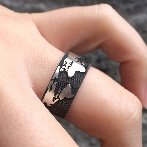 World Map Band Ring In Sterling Silver Metal World Map Ring Etsy