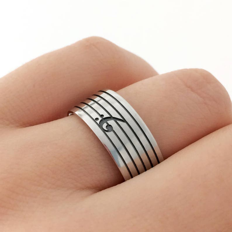 Music Gift Music Ring Sterling Silver Bass Clef Band Ring Bass Clef Band Ring Music Teacher Gift Bass Clef Silver Ring Music Jewelry