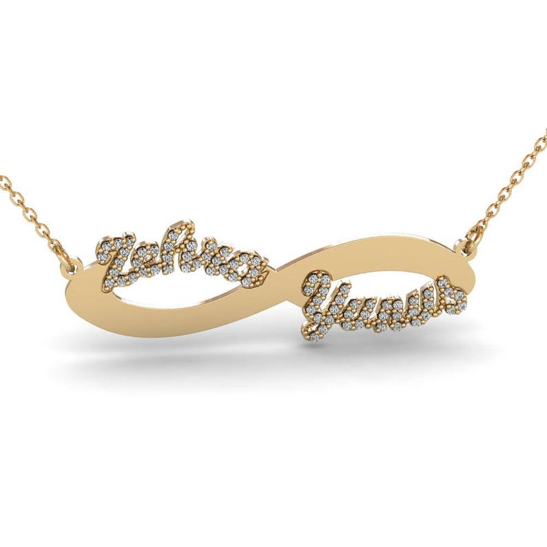 91226783d582a 14K Solid Gold Custom Infinity Name Necklace with Diamond, Infinity  Necklace, Gold Name Necklace, Nameplate Necklace, Wedding Necklace