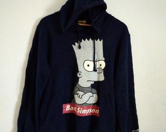 a838323b9 Vintage Bart Simpson Cartoon Sweatshirt Hoodie Size L